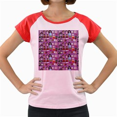 Drawing Collage Purple Women s Cap Sleeve T-shirt