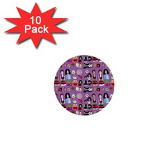 Drawing Collage Purple 1  Mini Buttons (10 Pack)