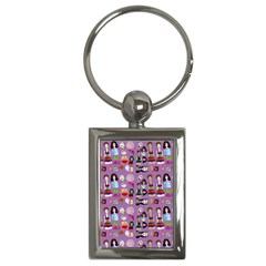 Drawing Collage Purple Key Chain (rectangle)