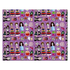 Drawing Collage Purple Rectangular Jigsaw Puzzl