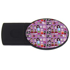 Drawing Collage Purple Usb Flash Drive Oval (4 Gb)