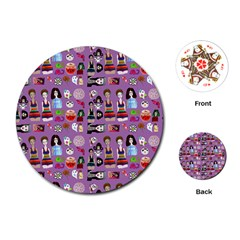Drawing Collage Purple Playing Cards Single Design (round)
