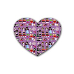 Drawing Collage Purple Heart Coaster (4 Pack)