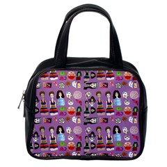 Drawing Collage Purple Classic Handbag (one Side)