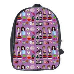 Drawing Collage Purple School Bag (large)