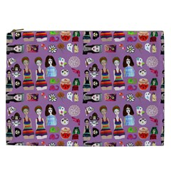 Drawing Collage Purple Cosmetic Bag (xxl)