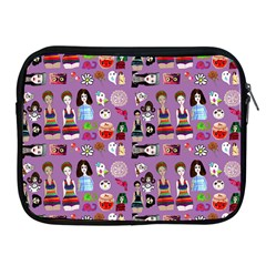 Drawing Collage Purple Apple Ipad 2/3/4 Zipper Cases