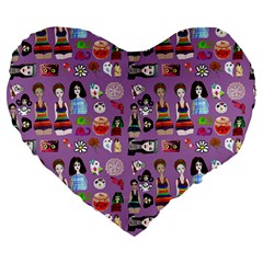 Drawing Collage Purple Large 19  Premium Flano Heart Shape Cushions