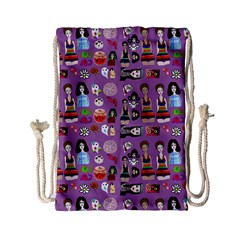 Drawing Collage Purple Drawstring Bag (small)
