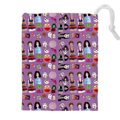 Drawing Collage Purple Drawstring Pouch (2xl)