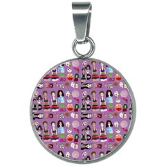 Drawing Collage Purple 20mm Round Necklace