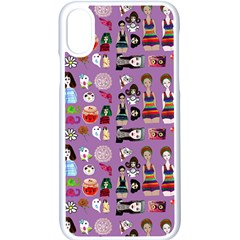 Drawing Collage Purple Iphone Xs Seamless Case (white)