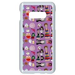 Drawing Collage Purple Samsung Galaxy S10e Seamless Case (white)