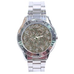 Modern Floral Collage Pattern Design Stainless Steel Analogue Watch