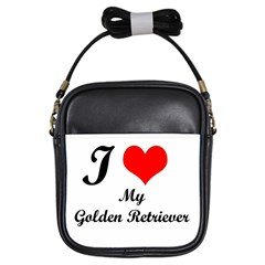 I Love Golden Retriever Girls Sling Bag by mydogbreeds