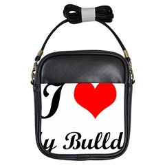 I Love My Bulldog Girls Sling Bag by swimsuitscccc