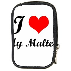 I Love My Maltese Compact Camera Leather Case