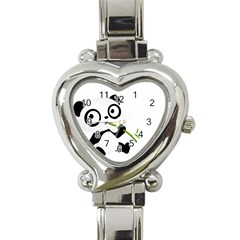 Panda3 Heart Italian Charm Watch by designergaze