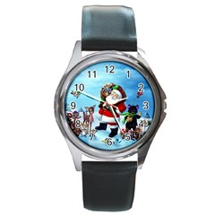 Xmas7 Round Metal Watch
