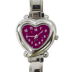Purple White Dots Heart Italian Charm Watch by PurpleVIP