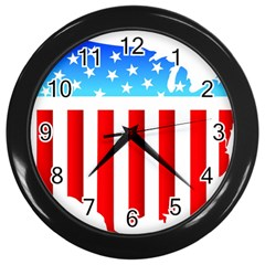 Usa Flag Map Black Wall Clock by level3101