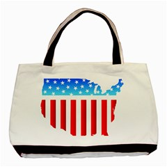 Usa Flag Map Black Tote Bag by level3101