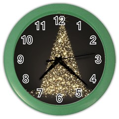 Christmas Tree Sparkle Jpg Colored Wall Clock by tammystotesandtreasures