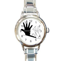 Rabbit Hand Shadow Classic Elegant Ladies Watch (round) by rabbithandshadow