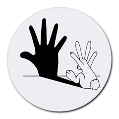 Rabbit Hand Shadow 8  Mouse Pad (round) by rabbithandshadow