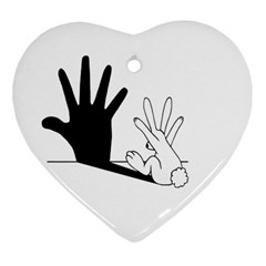 Rabbit Hand Shadow Ceramic Ornament (heart) by rabbithandshadow