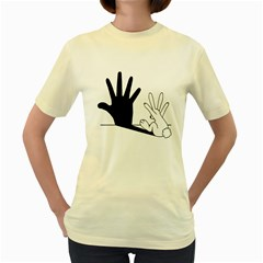 Rabbit Hand Shadow Yellow Womens  T Shirt by rabbithandshadow