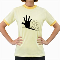 Rabbit Hand Shadow Colored Ringer Womens  T Shirt by rabbithandshadow