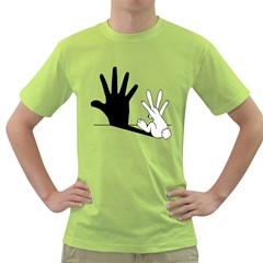 Rabbit Hand Shadow Green Mens  T Shirt by rabbithandshadow