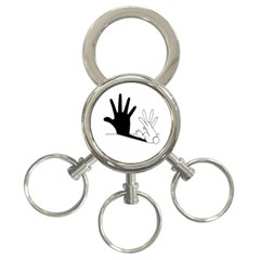 Rabbit Hand Shadow 3 Ring Key Chain by rabbithandshadow