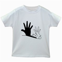Rabbit Hand Shadow White Kids'' T Shirt by rabbithandshadow