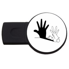 Rabbit Hand Shadow 2gb Usb Flash Drive (round) by rabbithandshadow
