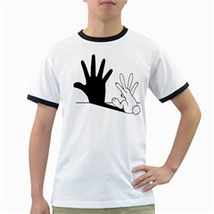 Rabbit Hand Shadow White Ringer Mens'' T Shirt by rabbithandshadow