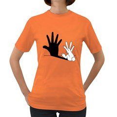 Rabbit Hand Shadow Dark Colored Womens'' T Shirt by rabbithandshadow