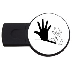 Rabbit Hand Shadow 4gb Usb Flash Drive (round) by rabbithandshadow