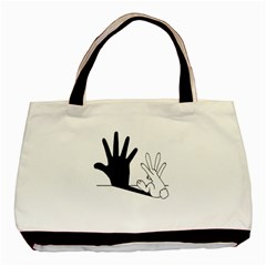 Rabbit Hand Shadow Black Tote Bag by rabbithandshadow