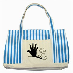 Rabbit Hand Shadow Blue Striped Tote Bag by rabbithandshadow
