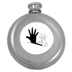 Rabbit Hand Shadow Hip Flask (round) by rabbithandshadow