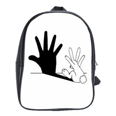 Rabbit Hand Shadow Large School Backpack by rabbithandshadow