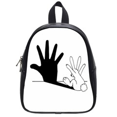 Rabbit Hand Shadow Small School Backpack by rabbithandshadow