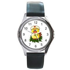 Coming Bird Black Leather Watch (round) by ComingBird