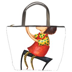 Music Girl Bucket Handbag by joscollection