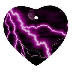 Purple Lightning Ceramic Ornament (heart) by PurpleVIP