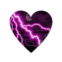 Purple Lightning Large Sticker Magnet (heart) by PurpleVIP