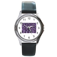 Purple Leopard Print Black Leather Watch (round) by PurpleVIP