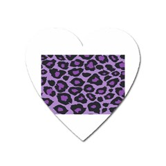 Purple Leopard Print Large Sticker Magnet (heart) by PurpleVIP